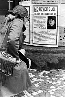 0267545 © Granger - Historical Picture ArchiveBERLIN: RED ARMY FACTION.   A wanted poster for Ulrike Meinhof, German left-wing militant and co-founder of the Red Army Faction, posted in Berlin, Germany. Photograph, 1970. Full credit: Burger - ullstein bild / Granger, NYC -- All rights
