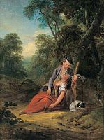 0267792 © Granger - Historical Picture ArchiveWELTE: HUNTSMAN.   Resting Huntsman with his Sleeping Lover. Oil on wood by Gottlieb Welte, mid 18th century. Full credit: Imagno - ullstein bild / Granger, NYC -- All rights reser
