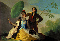0267793 © Granger - Historical Picture ArchiveGOYA: THE PARASOL, 1777.   Cartoon painting by Francsico Goya, for the tapestry in the dining room of the Prado Palace in Madrid, Spain. Oil on linen, 1777. Full credit: Imagno - ullstein bild / Granger, NYC -- All rights reserved.