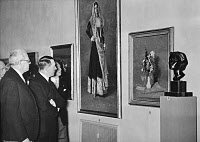 0267815 © Granger - Historical Picture ArchiveADOLF HITLER (1889-1945).   Chancellor of Germany, 1933-1945. Viewing Italian art at the Akademie der Künste in Berlin, Germany, with Italian Ambassador Bernardo Attolico. Photograph, 1937.
