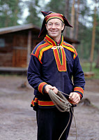 0268048 © Granger - Historical Picture ArchiveFINLAND: LAPLANDER, 1999.   Sami man wearing traditional clothing in the lapland region of Finland. Photograph, 1999. Full credit: Innerhofer - ullstein bild / Granger, NYC -- All Rights Reserved.