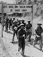 0268986 © Granger - Historical Picture ArchiveFIRST INDOCHINA WAR, 1954.   A group of German Foreign Legionnaires, taken prisoner at Dien Bien Phu, being released. Photograph, 1954.
