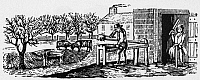0078014 © Granger - Historical Picture ArchiveFARMER: ALMANAC CUT.   Wood engraving, American, 19th century.