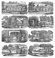 0092871 © Granger - Historical Picture ArchiveSEASONS ON A FARM, c1830.   Wood engravings, American, from the 'Farmer's Almanac' by Alexander Anderson, c1830.