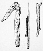 0049103 © Granger - Historical Picture ArchiveANCIENT FARMING TOOLS.   A wooden hoe and a flint-bladed sickle with wooden handle from Egypt; and a bone-handled sickle from Palestine. All before 4000 B.C.