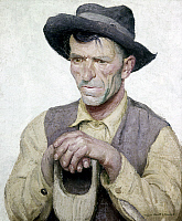 0103172 © Granger - Historical Picture ArchiveBENEKER: FARMER, 1924.   'From the Soil.' Oil on canvas by Gerrit A. Beneker, 1924. EDITORIAL USE ONLY.