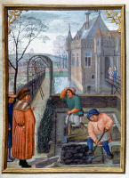 0026339 © Granger - Historical Picture ArchiveWORKMEN IN A GARDEN, c1515.   The month of March: illumination from a Flemish Book of Hours, c1515.