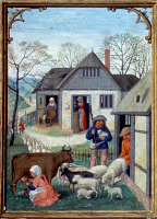 0026341 © Granger - Historical Picture ArchiveFARMYARD IN APRIL, c1515.   Illumination from a Flemish Book of Hours.