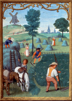 0026345 © Granger - Historical Picture ArchiveHAY-MAKING IN JULY, c1515.   Illumination from a Flemish Book of Hours.