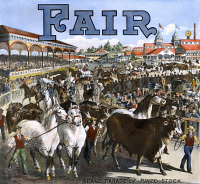 0032274 © Granger - Historical Picture ArchiveCOUNTRY FAIR, 1891.   Lithograph poster, 1891, for an American country fair, featuring the grand parade of prize stock.