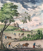 0037626 © Granger - Historical Picture ArchiveFRANCE: PLOUGHING, 1763.   An idealized version of 'labourage,' the tilling and ploughing of arable soil, on a model manor, as depicted in Denis Diderot's 'Encyclopedia.' Color line engraving, French, 1763.