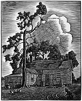 0172758 © Granger - Historical Picture ArchiveLANKES: FARMHOUSE, 1930.   An American farmhouse. Woodcut by Julius Lankes, 1930.