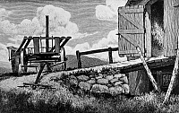 0172759 © Granger - Historical Picture ArchiveVERMONT: HAYRACK, 1946.   'The Hayrack. Newbury, Vermont.' Wood engraving by H.C. Merrill, 1946.