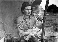 0002391 © Granger - Historical Picture ArchiveMIGRANT FARM WORKERS.   Florence Thompson, a 32-year-old migrant worker, photographed with her children in Nipomo, California. Photograph part of the 'Migrant Mother' series by Dorothea Lange, 1936.
