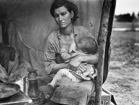 0032781 © Granger - Historical Picture ArchiveMIGRANT MOTHER, 1936.   Florence Thompson, a 32-year-old migrant mother, nursing her child at a migrant worker's camp in Nipomo, California. Photograph by Dorothea Lange, 1936.