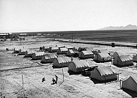 0131247 © Granger - Historical Picture ArchiveMIGRANT WORKER CAMP, 1942.   A camp for migrant workers at Friendly Corners, Arizona. Photograph by Russell Lee, 1942.