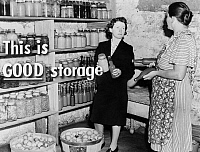 0323140 © Granger - Historical Picture ArchiveFSA SLIDE FILM, c1940.   'This is GOOD storage.' Photograph by John Vachon, from a Farm Security Administration educational slide film, c1940.