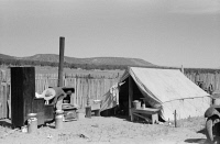 0352597 © Granger - Historical Picture ArchiveNEW MEXICO: HOMESTEADER.   The temporary camp of the Caudill family while they move their dugout in Pie Town, New Mexico. Photograph by Russell Lee, 1940.