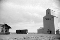0353110 © Granger - Historical Picture ArchiveGRAIN ELEVATOR, 1939.   A grain elevator at a railroad station in Fairfield, Montana. Photograph by Arthur Rothstein, 1939.