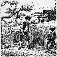 0067264 © Granger - Historical Picture ArchiveCOLONIAL FARMING.   A farmer and his family harvesting in 18th century colonial America. Wood engraving, 19th century.