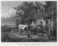 0092944 © Granger - Historical Picture ArchiveVETERINARIAN, 17th CENTURY.   'The Cow Doctor.' Steel engraving, 19th century, after a painting by the Belgian artist Charles Philogène Tschaggeny.