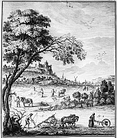 0006105 © Granger - Historical Picture ArchiveFRANCE: PLOUGHING, 1763.   An idealized version of 'labourage,' the tilling and ploughing of arable soil, on a model manor, as depicted in Denis Diderot's 'Encyclopedia.' Line engraving, French, 1763.