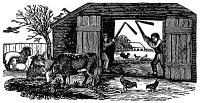 0014952 © Granger - Historical Picture ArchiveFARMING: THRESHING.   Threshing with hand flails: wood engraving, American, early 19th century.