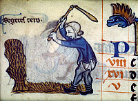 0023886 © Granger - Historical Picture ArchiveENGLAND: THRESHING WHEAT.   Threshing wheat with a flail. English manuscript illumination, late 13th century.