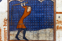 0027620 © Granger - Historical Picture ArchiveTHRESHING GRAIN, 14th C.   Threshing grain with a flail in August: illumination from a late 14th century French psalter.