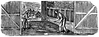 0067365 © Granger - Historical Picture ArchiveFARMING: THRESHING.   Threshing with hand flails. Wood engraving, American, early 19th century.