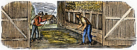 0069943 © Granger - Historical Picture ArchiveFARMING: THRESHING.   Threshing with hand flails: wood engraving, American, early 19th century.