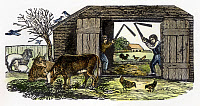 0069944 © Granger - Historical Picture ArchiveFARMING: THRESHING.   Threshing with hand flails. Wood engraving, American, early 19th century.