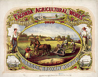 0175748 © Granger - Historical Picture ArchiveLAGONDA ADVERTISEMENT.   Poster for Lagonda Agriculture Works in Ohio, featuring farmers and harvesting machinery. Lithograph by Edwin Forbes, c1859.