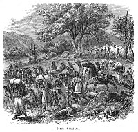 0037085 © Granger - Historical Picture ArchiveBLACK HAWK WAR, 1832.   The defeat of the Sauk and Fox Native Americans under Black Hawk by an American mixed force militia and regular infantry led by General Henry Atkinson at the mouth of the Bad Axe River, Wisconsin, 2 August 1832. Wood engraving, 19th century.
