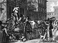 0180617 © Granger - Historical Picture ArchiveJOHN MALCOM (d. 1788).   The unpopular Commissioner of Customs in Boston, Massachusetts, is hung out his window by an angry mob on 25 January 1774. Line engraving, c1784.