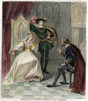 0007095 © Granger - Historical Picture ArchiveCOLUMBUS & ISABELLA, 1492.   Christopher Columbus in private audience with Queen Isabella and King Ferdinand of Spain. Engraving after Léopold Flameng, 1892.