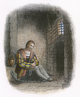 0007527 © Granger - Historical Picture ArchiveCHRISTOPHER COLUMBUS   (1451-1506). Italian navigator. Christopher Columbus in a Spanish prison, his hands shackled, following his arrest at Santo Domingo in 1500 by Francisco de Bobadillo. Engraving, 1800s.