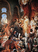 0007681 © Granger - Historical Picture ArchiveCHRISTOPHER COLUMBUS   Columbus being received by Ferdinand and Isabella in Barcelona in April 1493. Oil on canvas by Eugene-Francois-Marie-Joseph Deveria (1808-1865).