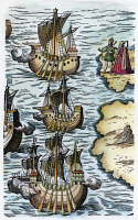 0008948 © Granger - Historical Picture ArchiveCOLUMBUS: CARAVELS, 1492.   Ferdinand and Isabella bidding a symbolic farewell to the caravels of Columbus setting sail from Palos, Spain on 3 August 1492. Detail of an engraving from 'Nova Typis ... India Occidentalis,' 1621.