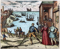 0009013 © Granger - Historical Picture ArchiveCOLUMBUS: DEPARTURE, 1492.   The departure of Christopher Columbus from Palos, Spain, on 3 August 1492 (the presence of Ferdinand and Isabella is symbolic and was not actual). Engraving by Theodor de Bry, 1594.