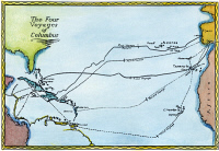 0027124 © Granger - Historical Picture ArchiveCOLUMBUS: MAP, 1400s.   Map of the four voyages made by Christopher Columbus from Spain to the New World. Illustration, 1939.