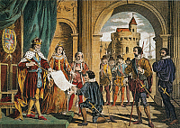 0052611 © Granger - Historical Picture ArchiveCHRISTOPHER COLUMBUS   being given the sailing commission by King Ferdinand and Queen Isabella for his Enterprise of the Indies in Sante Fe, Spain, on April 30, 1492: colored engraving, 19th century.