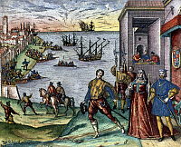0102873 © Granger - Historical Picture ArchiveCOLUMBUS: DEPARTURE, 1492.   The departure of Christopher Columbus from Palos, Spain, on 3 August 1492 (the presence of Ferdinand and Isabella is symbolic and was not actual). Color engraving, 1594, by Theodor de Bry.