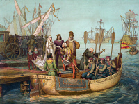 0325428 © Granger - Historical Picture ArchiveCHRISTOPHER COLUMBUS   (1451-1506). Italian navigator. Columbus departing from Palos, Spain, on 3 August 1492. Lithograph, American, 1893, after Victor A. Searles.