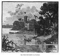 0619932 © Granger - Historical Picture ArchiveLA NAVIDAD, c1492.   A depiction of La Navidad, the first settlement established by Christopher Columbus in the New World, located on the island of Haiti. Engraving, 1892.