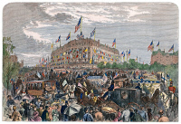 0009042 © Granger - Historical Picture ArchivePHILADELPHIA EXPO, 1876.   The crush at the intersection of Elm and Belmont Avenues on opening day of the Philadelphia Centennial Exposition, 19 May 1876: contemporary wood engraving.