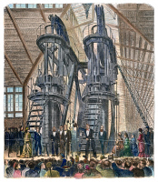 0010697 © Granger - Historical Picture ArchivePHILADELPHIA EXPO: ENGINE.   Brazilian Emperor Dom Pedro II and President Ulysses S. Grant starting the Corliss Engine at the opening ceremonies of the Centennial Exposition at Philadelphia on 10 May 1876. Contemporary engraving.