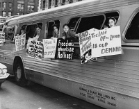 0622501 © Granger - Historical Picture ArchiveFREEDOM RIDERS, 1961.   Civil rights activists en route from New York to Washington, D.C. to protest racial segregation. Photograph, 1961.