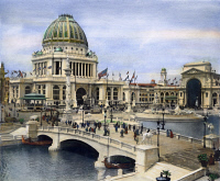 0009718 © Granger - Historical Picture ArchiveWORLD'S COLUMBIAN EXPO.   The Administration and Electrical buildings at the World's Columbian Exposition at Chicago, 1893: oil over a photograph.