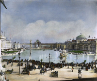 0030623 © Granger - Historical Picture ArchiveCOLUMBIAN EXPOSITION, 1893.   The 'White City' of the World's Columbian Exposition at Chicago, 1893. Oil over a photograph by Frances Benjamin Johnston.